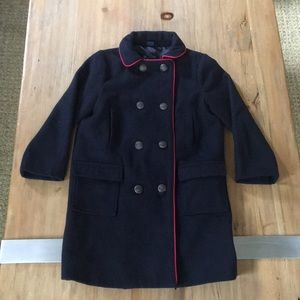 Gap Pea Coat size 5 navy red trim formal lined